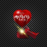 un ballon rouge en forme de cœur avec une belle inscription de fête des mères heureuse vole hors de la boîte cadeau. vecteur
