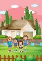 scène de maison en plein air avec de nombreux enfants vecteur