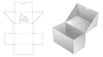 flip box avec fenêtre en forme de coeur sur le dessus flip die cut template