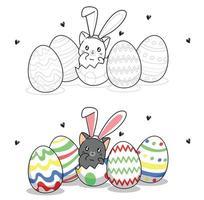 mignon lapin chat à l'intérieur d'un oeuf pour le jour de pâques coloriage de dessin animé