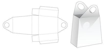 modèle de découpe de sac de poignée de cercle en carton