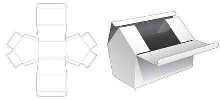 modèle de découpe de boîte en forme de maison à deux flips supérieurs