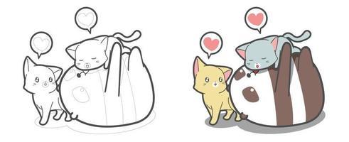 panda et chats aiment la page de coloriage de dessin animé vecteur
