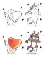Les chats kawaii tiennent facilement la page de coloriage de dessin animé coeur et flèche vecteur