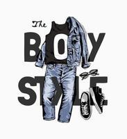 slogan de style garçon avec illustration de veste en jean et de jeans vecteur