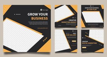 ensemble de marketing commercial général de modèles de bannière carrée minimale