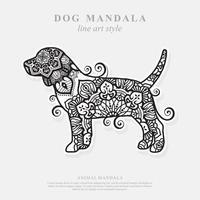 mandala de chien. éléments décoratifs vintage. motif oriental, illustration vectorielle. vecteur
