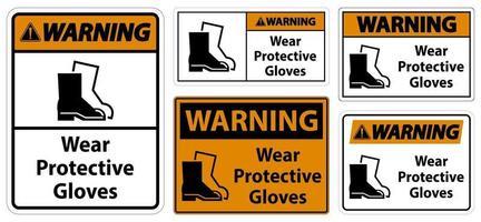 avertissement porter des signes de chaussures de protection vecteur