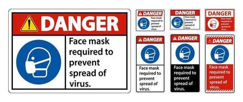Masque facial de danger nécessaire pour empêcher la propagation du signe de virus sur fond blanc vecteur