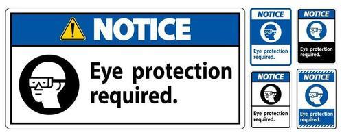 Avis signe protection des yeux symbole requis isoler sur fond blanc