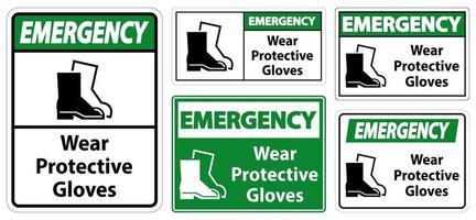 signes de chaussures de protection d'usure d'urgence vecteur
