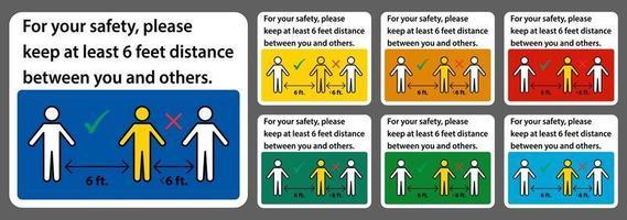 Gardez une distance de 6 pieds, pour votre sécurité, veuillez garder au moins 6 pieds de distance entre vous et les autres. vecteur
