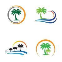 images de logo d'été de palmier vecteur