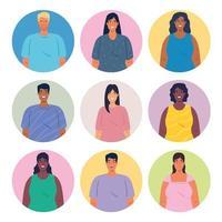 groupe multiethnique d'icônes d'avatar de personnes vecteur