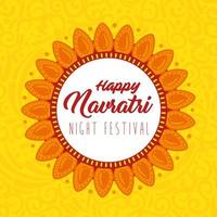 affiche de célébration hindoue navratri avec décoration florale vecteur
