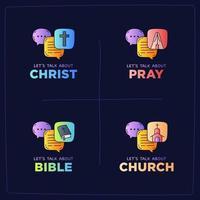 parlons de l'église, du christ, de Dieu, de la prière, de la Bible et de l'illustration de la religion vecteur