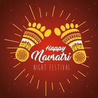 affiche de célébration hindoue navratri avec décorations vecteur