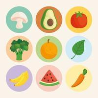 jeu d'icônes d'aliments sains et frais vecteur