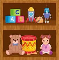 jouets pour enfants sur des étagères en bois