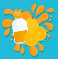 jus d'oranges et fruits avec splash vecteur