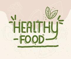 lettrage de nourriture saine vecteur