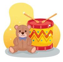 jouets pour enfants, tambour avec ours en peluche vecteur