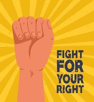 Révolution, protester le bras levé pour lutter pour ta droite vecteur