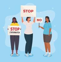 Groupe de personnes protestant, militants pour le concept des droits de l'homme vecteur