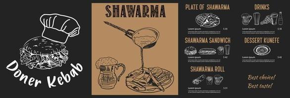 cuisson shawarma et ingrédients pour kebab. vecteur
