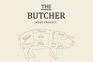 Boucherie tableau noir coupe de viande de porc. vecteur