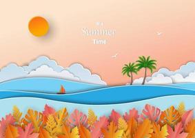 concept de l'heure d'été, conception d'art papier avec des feuilles tropicales, océan de mer, bateau, cocotier et ciel