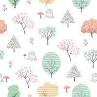 Modèle sans couture mignon forêt colorée, dessin animé dessiné à la main isolé sur fond blanc