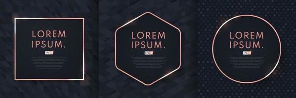 ensemble de fond de conception abstraite luxe motif noir avec cadre géométrique en or rose. conception de modèle en or rose moderne et minimal. illustration vectorielle vecteur