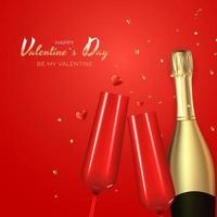conception réaliste de fond de carte-cadeau de vacances de la Saint-Valentin. modèle pour la publicité, le Web, les médias sociaux et les annonces de mode.