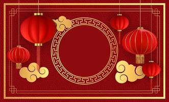 fond abstrait de vacances chinoises avec des lanternes suspendues et des nuages d'or. illustration vectorielle vecteur