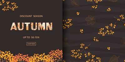 automne ou automne modèles sans couture avec des feuilles dorées