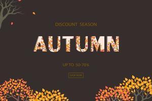 fond d'automne ou d'automne avec texte de réduction pour la promotion du shopping