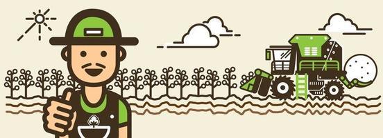 illustration vectorielle de récolte de coton. vecteur