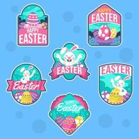 étiquette mignonne de l'événement de Pâques vecteur