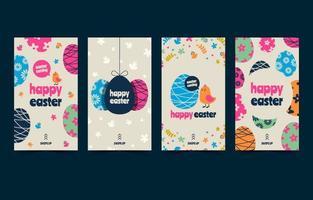 joli post de médias sociaux oeuf de Pâques vintage vecteur