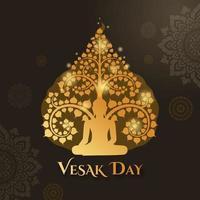 jour vesak avec bouddha assis sous et fond de décoration art thaïlandais vecteur