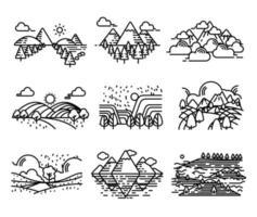 terre, jeu d'icônes de montagnes.