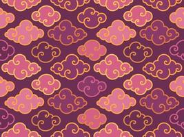 modèle sans couture de nuages chinois oriental traditionnel violet vecteur