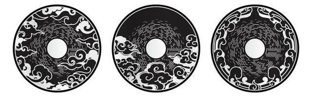 symbole d'élément de conception décorative lune et nuages. vecteur