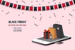 vente de vendredi noir avec des sacs sur smartphone