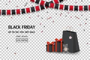 bannière de vente vendredi noir avec coffrets cadeaux, sacs à provisions, drapeau et confettis