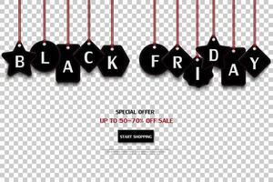 étiquette de prix vendredi noir isolé