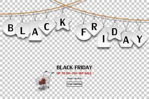 étiquette de vente vendredi noir suspendu à une corde