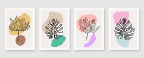 résumé, feuilles, contour, affiche rétro, ensemble vecteur
