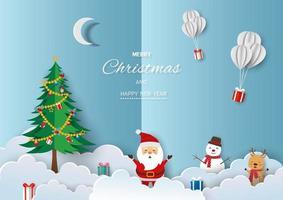 joyeux noël et bonne année carte de voeux vecteur